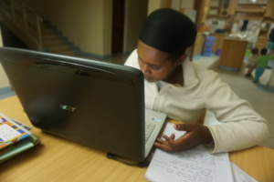 Charity preparing her resume.