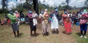 Young moms at food distribution program last week.