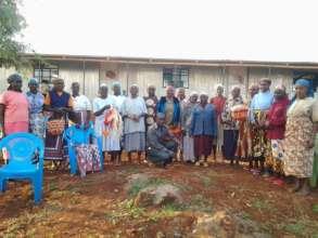 Elderly ladies basket weaving group