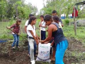 Nicaraguan school children working in their garden