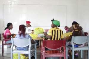 The ladies meeting at the Kudvumis Skills office