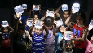 Women's Project Center - Rafah gave lights to kids