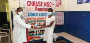 Distribution of sanitizer, mask and soap.