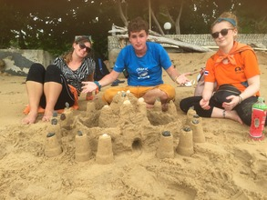 Build a sandcastle was one of the pit-stops