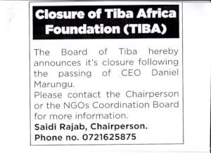 Tiba's closure ad  in the Daily Nation newspaper
