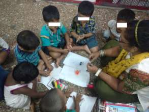 Art and Craft session with the beneficiaries.