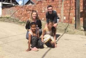 Volunteers with Nerxhivane and Albiona