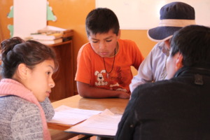 Wendy interviews students in Yambata