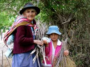 Old woman and young girl collect firewood