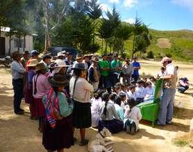 Stove demonstration with schoolchildren & parents