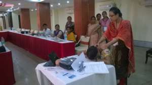 Practical help session during IYCF training ,Patna