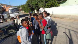 Visitors gathering at Cambota community.