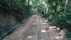 The gravel was also spread on our internal road.