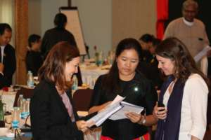 Jennifer Smith (left) at legal aid consultation