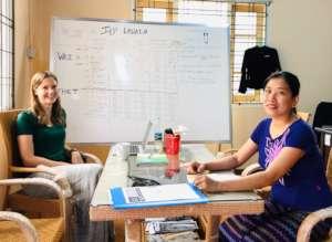 Libby and Wai Wai at the new Lashio Office