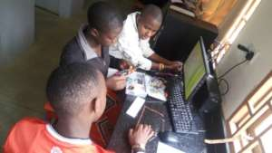 Students in the robotics club