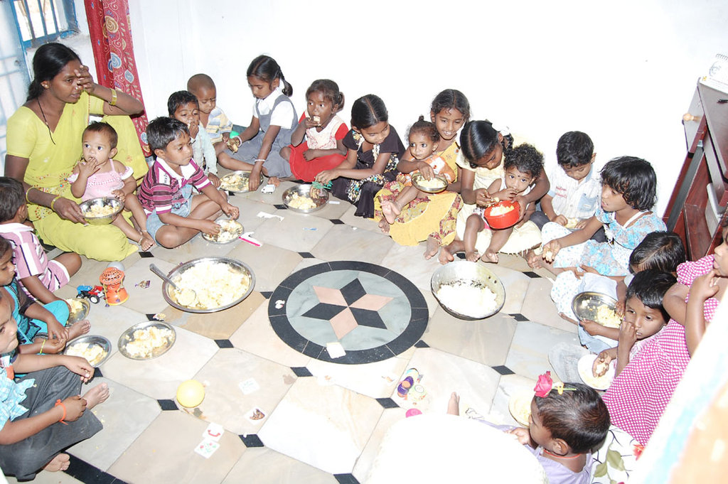 Provide mid day meals for poor Children in Creches