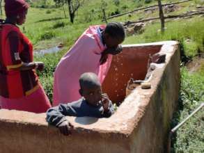 Women and children have access to clean water.