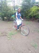Shreya on her bicycle