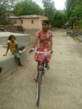 Snehal with her bike