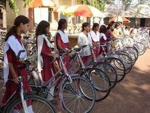 Area school girls & their bicycles, ready to race.