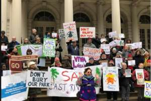 NYC City Hall rally for East River Park Spring 19