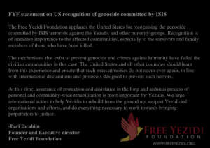 FYF statement - USA recognition of genocide