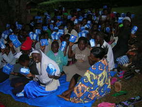 School girls receiving their pads last year