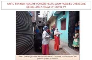 Ratna motivating slum families to test for COVID