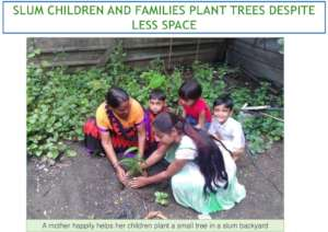 Mother with children planting sapling together