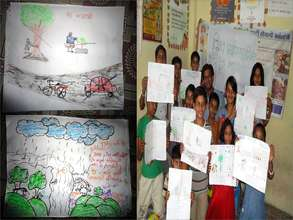 Children expressing thoughts on Environment safety