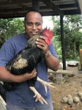 Tebbi hugging a Kabir cross rooster