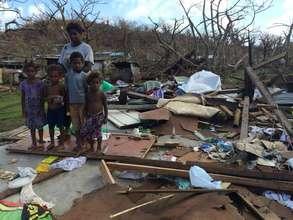 Destroyed homes on Tongoa island