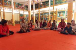 Group of well recipients at local temple