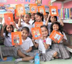 Students in their school library