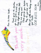thank you note from Grade 4 student in Duenas