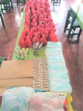 Packages of supplies and food given to families
