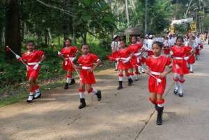 mjorettes lead education fiesta parade