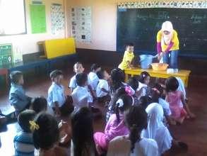 Kindergarten  hygiene class at Sahaya Elementary