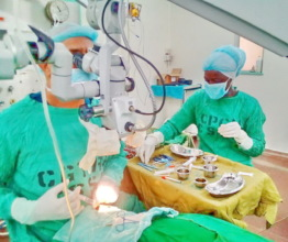 Agnes at her internship during a corneal surgery