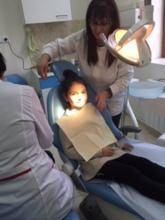 Children from community receiving dental care