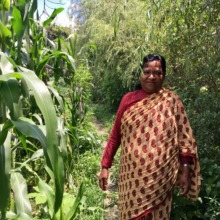 Sanu restored her garden with GlobalGiving's help.