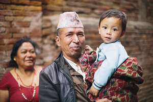 A family on the street in Bhaktapur