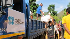 World Concern staff delivering emergency supplies