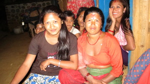 "Lok (right) and her daughter say ""thank you!"""