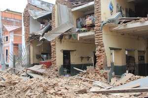 Destroyed homes after Nepal earthquake.