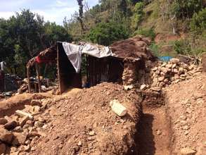 A destroyed home used as a shelter, Tanahun