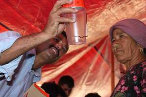 Delivery of solar lanterns to keep women safe