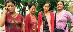 Women's rebuilding committee, Gaura is on the left