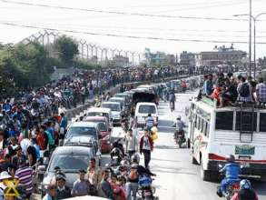 Fuel lines in Kathmandu, photo from Kathmandu Post